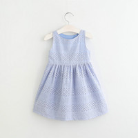 Enfants Dentelle Slip Dress Été Creux Out Princesse Dress Cute Girls Party Dress Infant Girls Vêtements