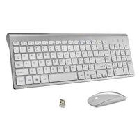 Ultra-Cienka biznesowa bezprzewodowa klawiatura i mysz Combo 102 Klawisze Low-Szum Bezprzewodowa Mysz Klawiatura do Mac PC Win XP / 7/10 TV
