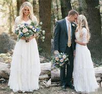 2019 Western Country Bohemian Forest Vestidos de novia Encaje Gasa Modesto con cuello en V Mangas medias Vestidos de novia largos Vestido de talla grande para bodas