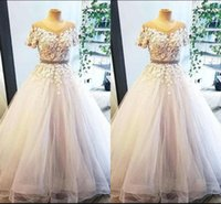 New Lace A Line Wedding Dresses Short Sleeves Appliques Bead...