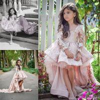 Rosa långärmad blomma tjejer klänningar spets applique barn formellt slitage för bröllop härlig hög låg liten tjej kommunion pageant parti