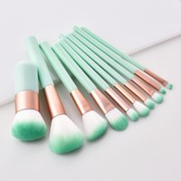Newest 10 pcs Make Up Cosmetic Brushes Set Mint Green Wooden...