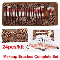 Ensemble de pinceau de maquillage en or rose + sac léopard 24pcs Outil de maquillage Kit de pinceaux de maquillage pour le visage et les yeux