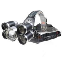 Alumínio Mais Poderoso 5 LED 4 Modos de Zoom Recarregável levou Farol para fora da porta T6 levou lanterna cabeça