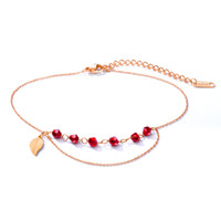 Summer Bohemian Ruby Red Crystal CZ Beads Tassel Chain Anklet Beach Catena del piede nudo