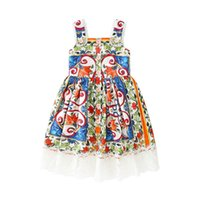 Girls Blue And Green Floral Dresses 2018 Kids Summer Sleevel...