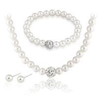 Fashion White Ball Faux Perle Strass Ohrstecker Armband Halskette Schmuck Sets Frauen Mädchen Hochzeitsgeschenk