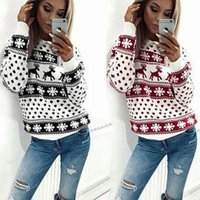 Wholesale Winter Long Sweaters Christmas Printing Knitted De...