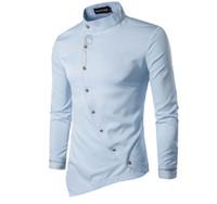 Мужской дизайн печати сплошной цвет косой однобортный рубашки с длинными рукавами тонкий мода футболки топы носить мужские нерегулярные рубашки
