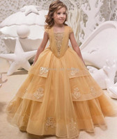 2019 New Tulle A Line Gold Flower Girl' s Dresses Lace A...
