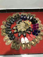 Совершенно новые женщины принципиальные замшевые бархатные кожаные тапочки с настоящим мехом кролика зимние тапочки мокасины Muller Flat EUR35-42 с коробкой