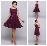 Under 70 Grape Short Homecoming Dresses A Line Mini Crew Nec...