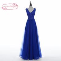 Tatsächliche Bild Prom Kleider Royal Blue Spitze Appliques Sicke Pailletten tiefem V-Ausschnitt Backless eine Linie Tüll lange Abendkleider Arabisch