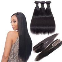 Bundle dritti peruviani capelli umani con chiusura in pizzo 2x6 Parte centrale Remy estensioni dei capelli umani non trasformati capelli lisci vergini