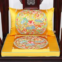Luxus Chinese Dragon Crane Kirin Stuhl Sitzkissen High End Verdicken Seidenbrokat Lendenkissen Dekorative Kissen für Sofa