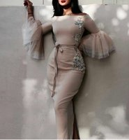 Elegant Long Sleeves Sheath Evening Dresses Appliques Embroi...