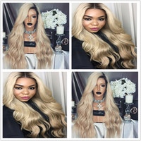 Ombre Wigs 1b 613 27# Black Blonde Long Deep Wave Lace Front...
