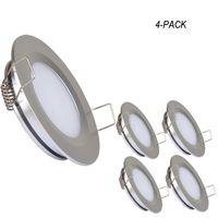 Topoch LED à encastrer Lampe 4-Pack Ultra Thin Spring Clips Mont pleine aluminium DC12V 3W 240lm pour RV Boat House Sliver blanc Nickel