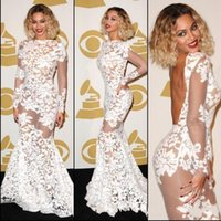 Beyonce Grammy Awards Lace Sheer Celebrity Dresses Long Slee...