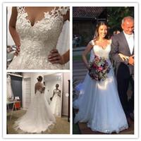 Белый тюль линия V шеи свадебные платья кружева аппликация халат де mariée 2019 новый свадебный Gowm вечерние платья принцесса с бисером