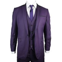 Gli uomini formali viola si adattano a tre pezzi i pantaloni giacca Vest Custom Made One Button Smoking dello sposo 2018 Best Men Suit