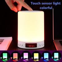 S66 + Taşınabilir Bluetooth Hoparlör Gece Lambası Kablosuz Stereo Dokunmatik Ses LED Lamba Zaman Göstergesi Saat Alarm Hoparlörler Hoparlör TF Kart