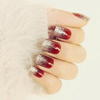 Nail Art 24Pcs High- Gloss Shiny Red Wine Silver False French...