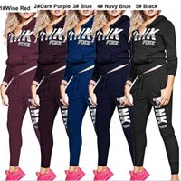 PINK Letter Sports trackSuits Hoodie Sweater Tops + long pan...