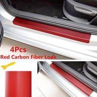 4 PCS Fibre De Carbone Look Plaque De Porte De Voiture Sill Scuff Couverture Auto Anti-Rayures Autocollant Rouge Nouveau 2018