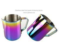 350 ml / 600 ml Leche Espuma Jarra Café expreso Jarra Barista Craft Café Latte 20 oz Acero inoxidable Rainbow Milk Tazas Cafeteras