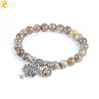 CSJA Natural Labradorite Spectrolite Women Bracelets Bangles Gemstone Mala Beads Tree of Life Charm Reiki Healing Meditation Jewellery E742
