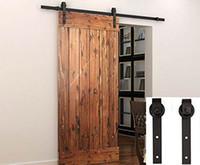Rustic Steel Black Industrial Sliding Barn Door Hardware Track System  Rollers For American Sliding Wooden Door