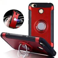 Caja de la armadura defensor híbrido de doble capa con el anillo de pata de cabra magnética en la cubierta del sostenedor del coche para el iPhone 11 Pro X XS Max XR 8 7 6 Plus S8 S10 Plus