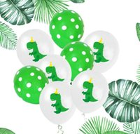 Cartoon Dinosaur Latex Balloon 12 in Green Dot Dinosaur Ball...