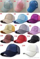 0c18968543a New Arrival. 14 colors CC Glitter Ponytail Baseball Cap Women Messy Bun Baseball  Cap Girls Snapback Caps hat Summer Sports Mesh Hats