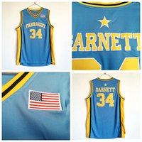 Erkek Kevin Garnett # 34 Farragut Lisesi Basketbol Forması Açık Mavi Ucuz Kevin Garnett Dikişli Basketbol Gömlek S-XXL
