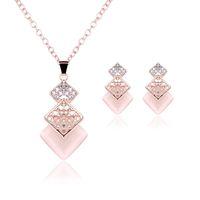 Bijoux roses Collier plaqué or Ensemble de la mode carré diamant mariage mariage costume de bijoux ensembles de bijoux de fête rubis (collier + boucles d'oreilles)
