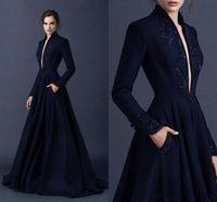 Elegant Evening vestidos longos Plunching V Neck mangas compridas bordado frisado Trem da varredura Formal partido Prom Vestidos Vestidos com bolso BA9490