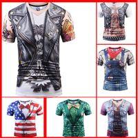 25 stilleri 3d t shirt baskılı tshirt erkek kadın kısa kollu rahat t-shirt serin yaz tees tops t gömlek Kafatası Sahte iki adet tarzı moda