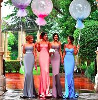 Dulces Color Lace Botice Dama de honor vestidos 2018 Largos para las correas de spaghetti de boda Sirena con sasas desmontables Party Party Bats