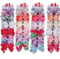 Jojo bow Kids headwear 6 color one card child hair clip 4 in...