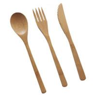 Airchr Nuovo arrivo stoviglie di bambù 30pcs (10 set) 100% bambù naturale cucchiaio forchetta coltello set di stoviglie in legno SN1556