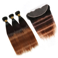# 1B / 4 / 30 Medium Auburn Ombre 브라질 버진 사람의 머리카락이 정면으로 스트레이트로 3 톤 옹 브르 13x4 레이스 정면 클로저 (3Bundles)