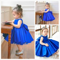 Blue Cute Flower Girls Dresses Jewel Sleeveless Pageant Gown...