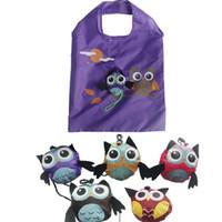 أكياس التسوق الكرتون البومة ودية 4 ألوان ايكو هذه قابلة لإعادة الاستخدام للطي مقبض حقيبة هدية أكياس تعزيز حرية الملاحة