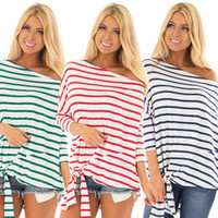 Striped Tops Tees Mujeres Camiseta Un hombro Off Shoulder Manga larga Pullover Bow Tied Hem Tee Tops Chica Blusa