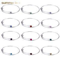 Moda 12 colores de diamantes de imitación brazalete de cristal brazalete ajustable pulsera de alambre expandible para mujeres DIY amor joyería venta al por mayor envío gratis