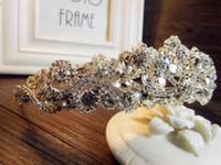 Novia europea Tiaras barroco de lujo Rhinestone Crystal Crown 2018 La reina del diamante de pelo princesa coreana blanco brillante accesorios para el cabello