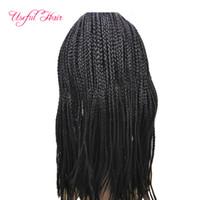LACE FRONTAL Perücke langes gerades Haar BOLETO brasilianisches Haar Perücken für schwarze Frauen geflochtene Spitze vorne Perücke 3x Box Zöpfe Spitze