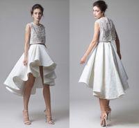 Moda Krikor Jabotian Dantel Gelinlik Modelleri Boncuk Korse Dantelli Asimetrik Etek Iki Parçalı Beyaz Akşam Parti Elbiseler Yüksek Düşük Balo elbise